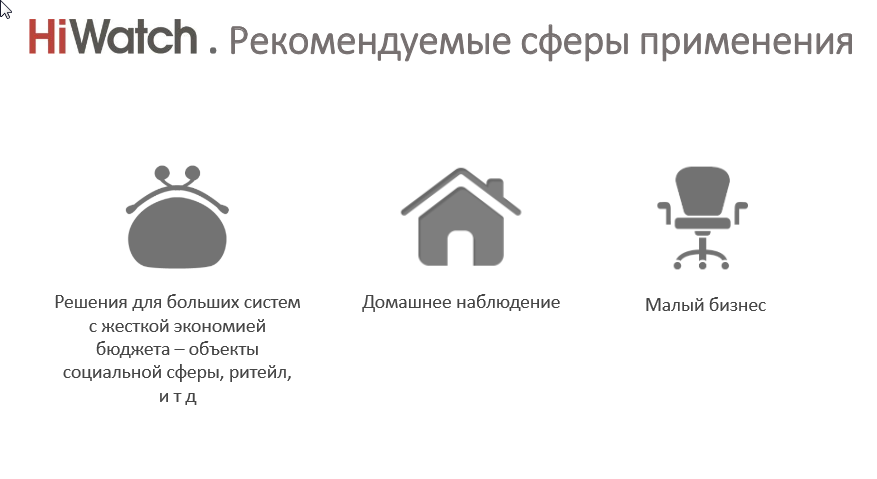 Торговая марка HiWatch позиционируется как решение для домашнего применения и обеспечения безопасности малого и среднего бизнеса.