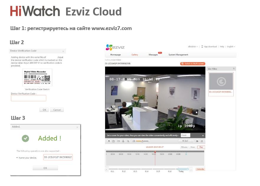линейка оборудования HiWatch поддерживает работу с облачным сервисом EZVIZ